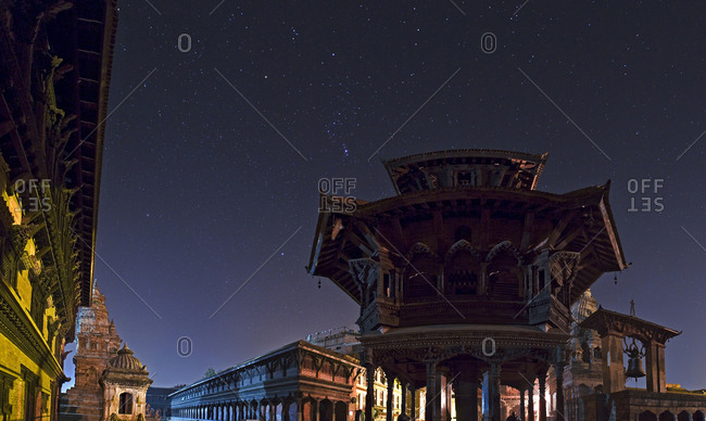 The Durbar Square of Bhaktapur at night.