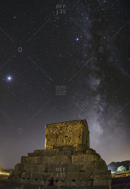 The Summer Milky Way and Jupiter above the tomb of Cyrus the Great, an ancient king of Persia.