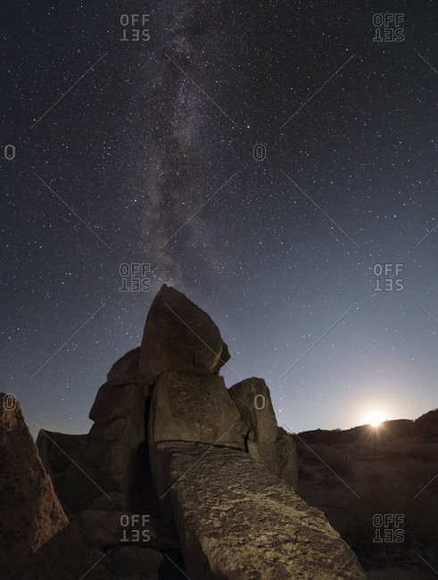 The Milky Way above an engraved petroglyph in the Owens Valley of Sierras, California.