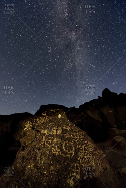 The Milky Way above an ancient Native American petroglyph in the Owens Valley of Sierra.