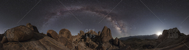 The Milky Way above sandstone rock formations in the Alabama Hills of California.
