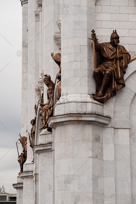 Statues on the exterior of the Cathedral of Christ the Saviour in Moscow, Russia.