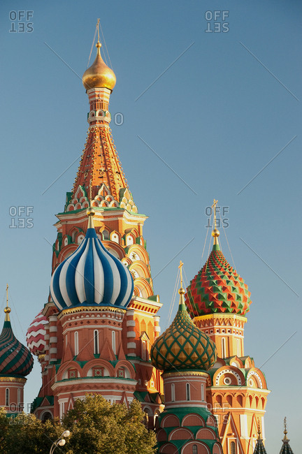 Moscow, Russia - September 13, 2016: The domes of Saint Basil's Cathedral in Moscow, Russia.