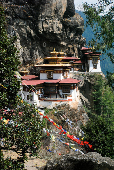 Taktsang Lhakhang, known as The Tiger's Nest, is a monastery clinging to a vertical granite cliff.