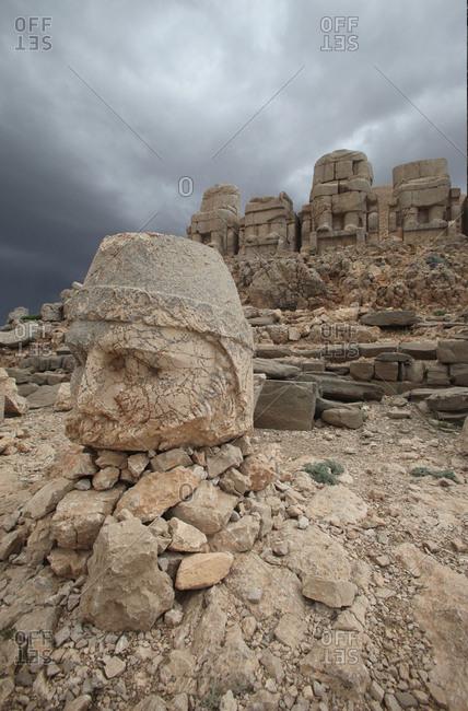 An Ancient Stone Sculpture in Mount Nemrut in southeastern Turkey.