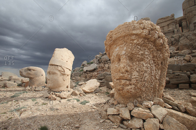 Statues around the tomb on the top of Mount Nemrut in Southeastern Turkey.