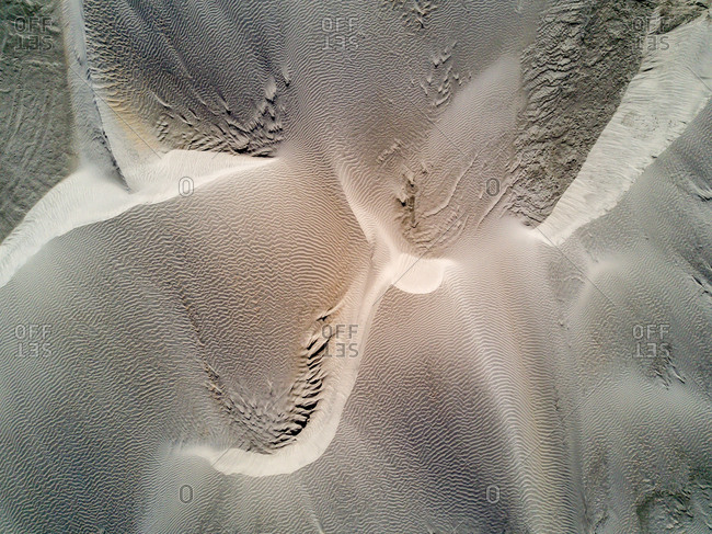 An aerial view of sand dunes.