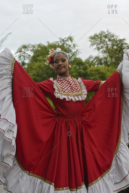 Colombian folk dancer wearing traditional Tambora attire.