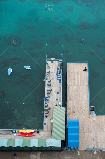 Aerial view of a boardwalk on the coast of Sorrento, Italy