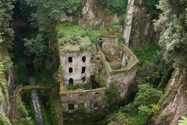 Bird's eye view of an abandoned flour mill in The valley of the mills, Sorrento, Italy