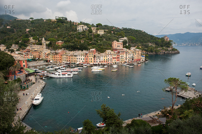 Portofino, Italy - July 22, 2015: Bird's eye view of the town and harbor of Italy, Portofino
