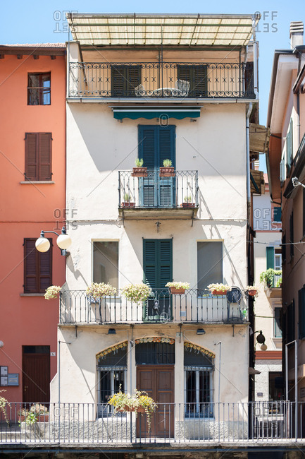 House with multiple balconies in Omegna, Italy