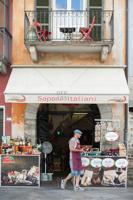Lake Maggiore, Italy - July 16, 2016: Shop selling meat, cheese and wine