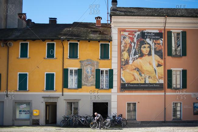 Locarno, Switzerland - July 19, 2016: Man riding bike in Locarno, Switzerland