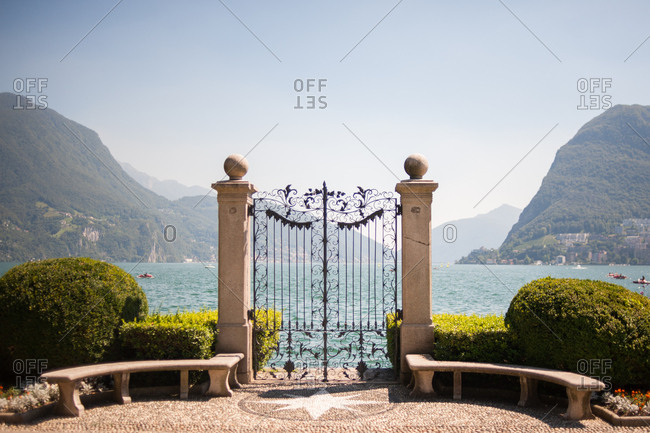 Ornamental gate by lake Lugano, Switzerland