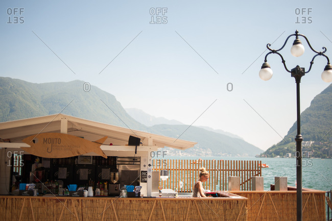 Lugano, Switzerland - July 19, 2016: Lakeside bar on Lake Lugano