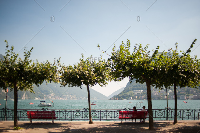 Benches overlooking lake Lugano, Switzerland