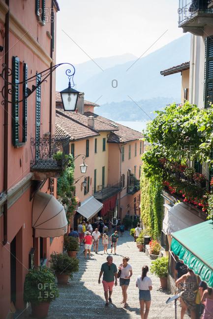 Bellagio, Lombardy, Italy - July 20, 2016: Street scene in Bellagio, Lombardy, Italy