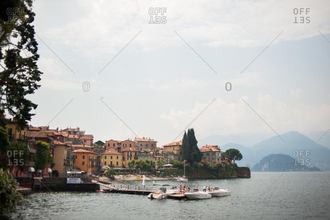 Varenna, Italy - July 21, 2016: Taxi boats in Lake Como in Varenna, Italy