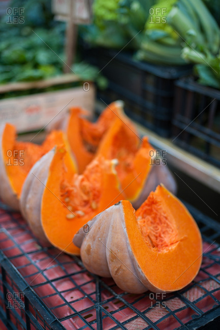 Sliced squash at a market, Syracuse, Italy