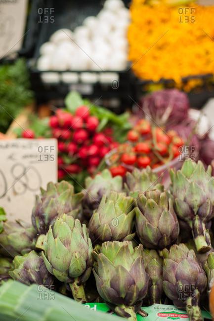 Artichokes at a market, Syracuse, Italy