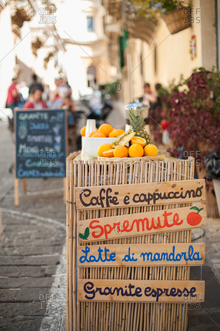 Fresh fruit on a cafe stand in Marzamemi, Italy