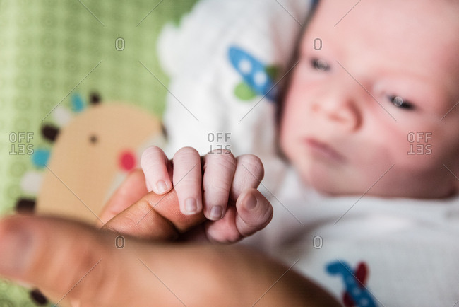 Baby holding an adult's finger