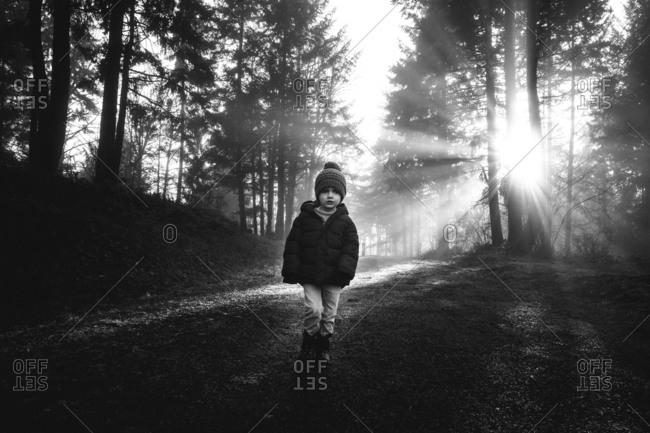 Boy backlit by sun walking in woods