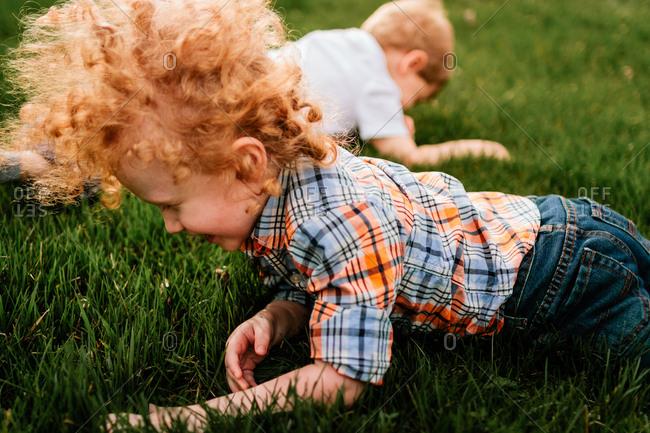 Children rolling in grass