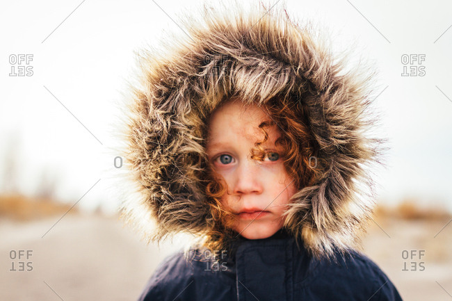Child in furry hood