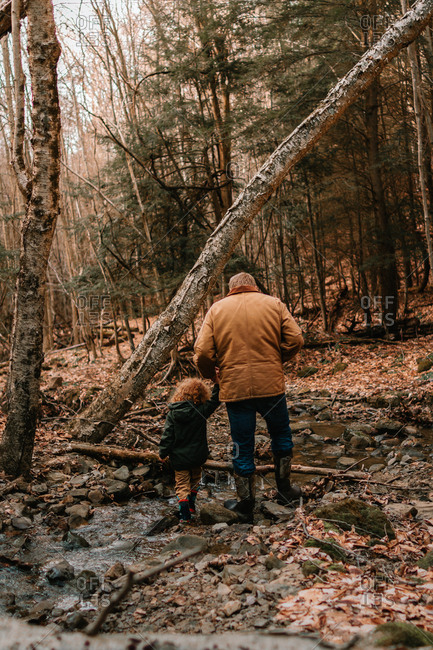 Father and Son exploring small stream