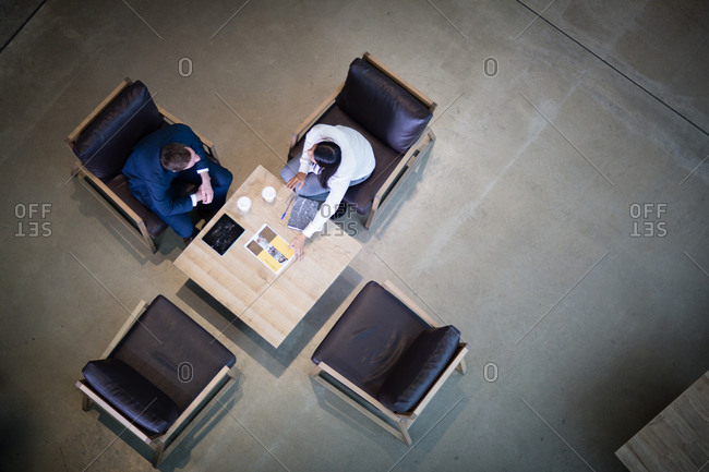 Overhead shot of colleagues waiting for clients