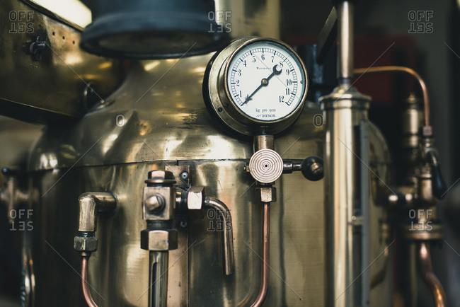 Pressure meter of old fire truck