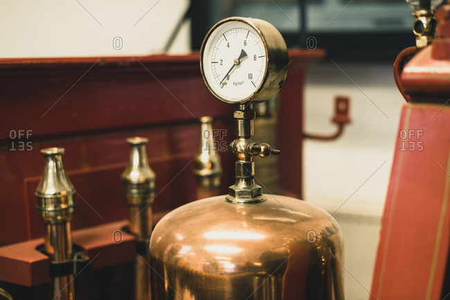 Pressure meter of old fire truck