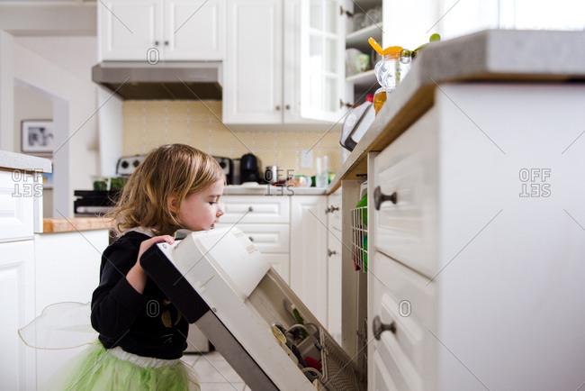 Toddler girl looking in dishwasher