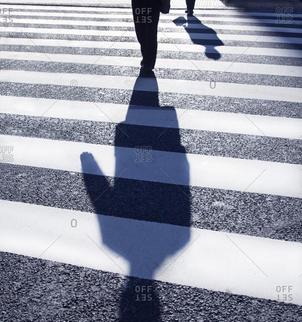 Shadow of businessmen in crosswalk, Tokyo, Japan