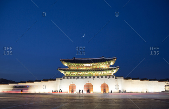 Gyeongbokgung Palace gate at night in Seoul, South Korea
