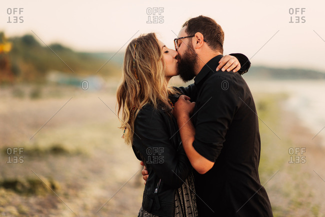 Couple in a kiss on beach