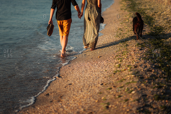 Couple in beach stroll with dog