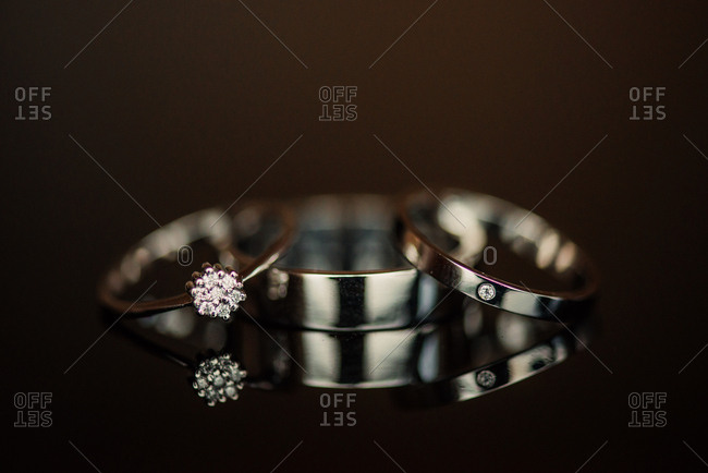 Three wedding bands propped together