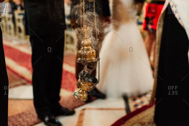 Incense burning during a wedding