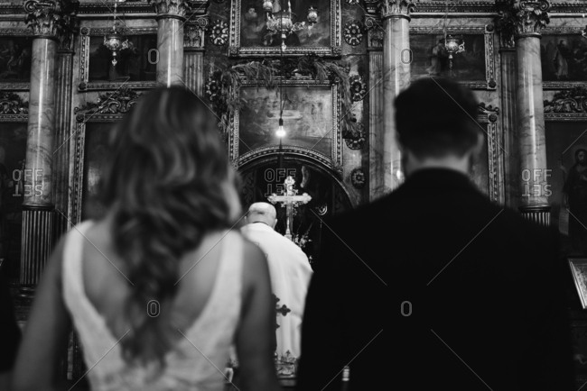 Couple at altar during wedding