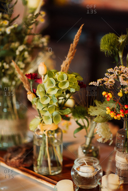 Bell shaped flowers on wedding table