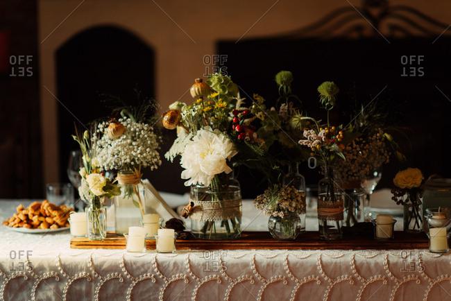 Flower arrangements on board