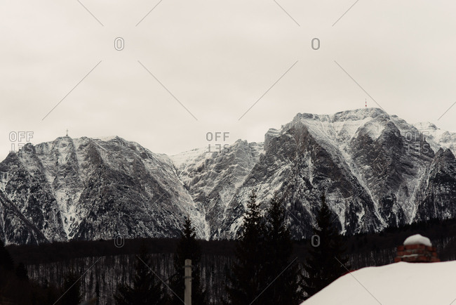 Mountain peaks in snowy setting