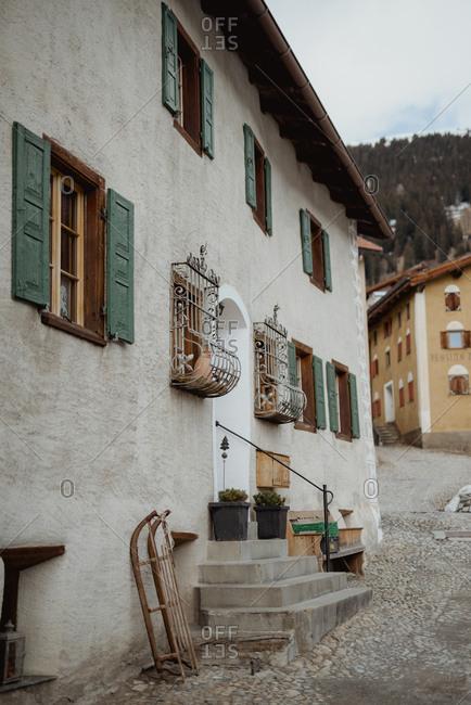 Latsch, Switzerland - March 5, 2017: Building exterior in the town of Latsch, Switzerland