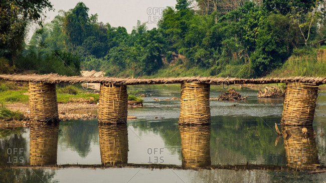 Bamboo foot bridge, Luang Namtha, Laos
