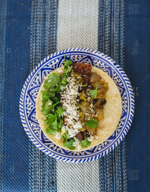 Overhead view of a breakfast taco