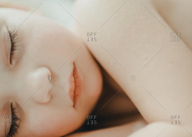 Close-up portrait of beautiful sleeping child