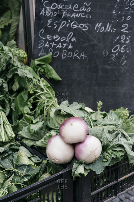 Turnips and greens for sale at a Portuguese market